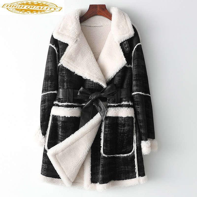 100% Wool Fur Coat Autumn Winter Coat Women Clothes 2019 Faux Leather Jacket Women Korean Long Coats Manteau Femme MY