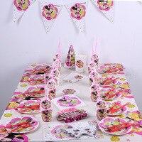 82 шт., розовый, красный, Минни Маус, принадлежности для вечеринок на день рождения, одноразовые скатерти, чашки, тарелки, салфетки, Детский ко...