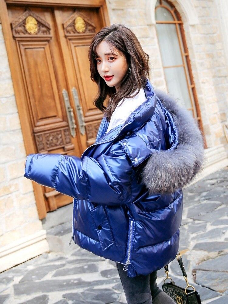 New 2020 Women's Winter Down Jacket Hooded Korean Big Raccoon Fur Collar Loose Puffer Coat Doudoune Femme Hiver KJ3458