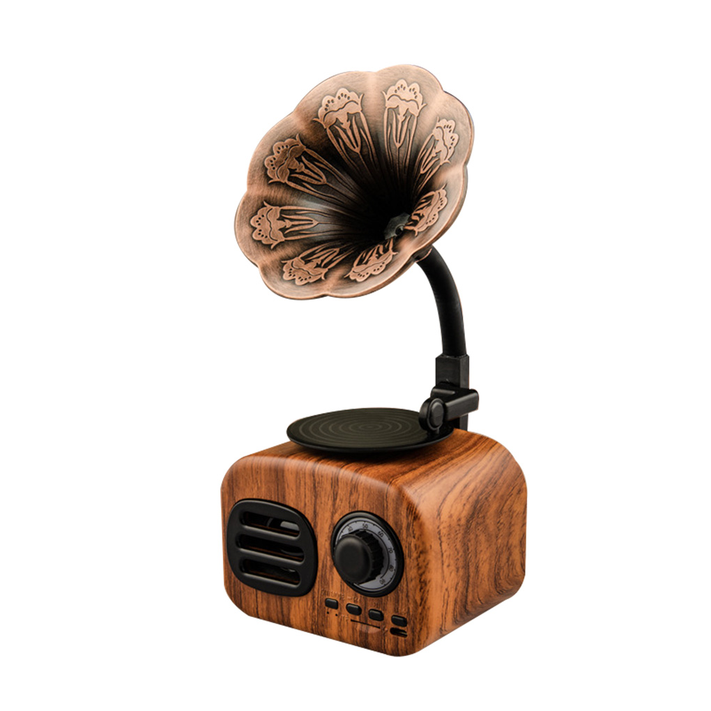 Brand New Retro Phonograph Wireless Handsfree FM Radio Loudspeaker Subwoofer Bluetooth Speakers image