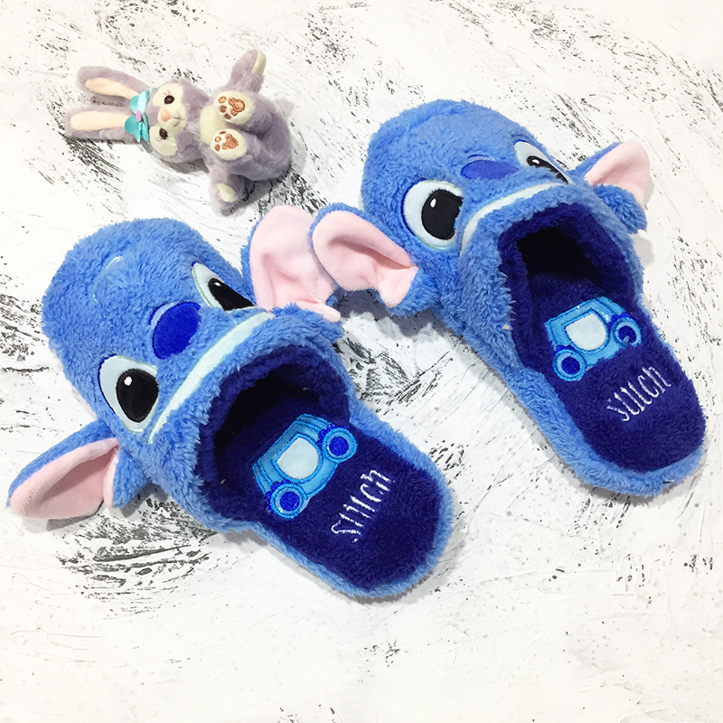 Cartoon Stitch Slippers Plush Warm Duck Slippers Comfortable Home Slippers Girl Flat Shoes Non-slip Floor Mop Slippers Gifts image