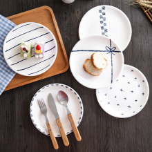 Nordic Round Shape Ceramic Plate Brief Glaze Porcelain Dinner Western Steak Dessert Cake Tray Breakfast Snack Dishes