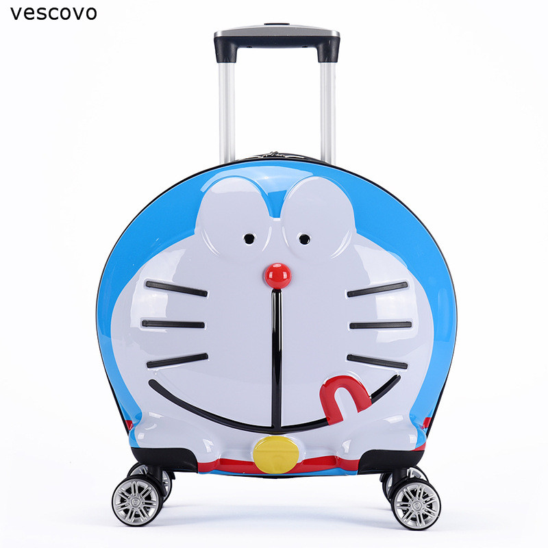 Vescovo 20inch KidS Cartoon Robot Cat  Rolling Luggage Spinner High Quality Children Carry On Travel Suitcase On Wheels