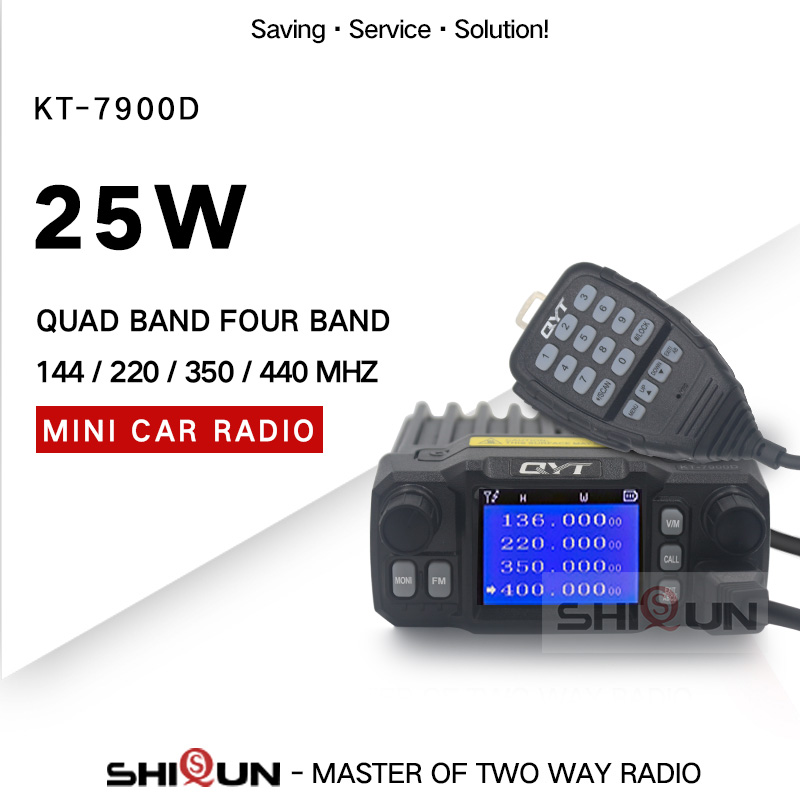 25W QYT KT-7900D Mini Amateur Mobile Transceiver Quad Band 144/220/350/440MHZ 25W Ham Car Mobile Radio 10Km Walkie Talkie 10 KM
