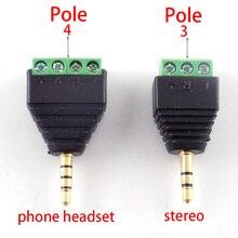 Video AV balun terminali 3.5mm Stereo Spina Martinetti 3/4 Pole Stereo Maschio del Convertitore Adattatore Audio FAI DA TE connettore