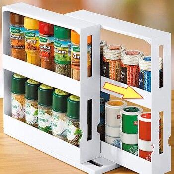 Prateleira multifuncional para armazenamento de 2 andares, organizador multifuncional para garrafa de especiarias e temperos, para cozinha