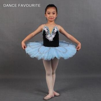 Black Velvet  Bodice  Pale Blue Tulle Small Pancake Tutu Kid Dancewear Ballet Costume Dancewear Performance Tutu