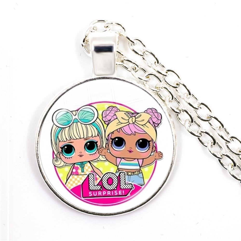 Fashion Cute Pretty Girls Minnie Style Kids 25mm Glass Dome Cabochon Necklace Kawaii Sweater Chain Jewelry Gift For Women Girls 4