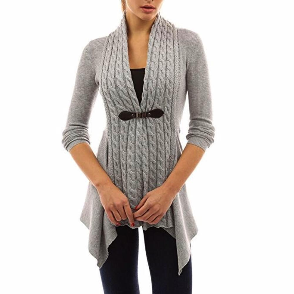 Hot Autumn Winter Lady Solid Color Long Sleeve Buckle Braid Front Irregular Cardigan Nylon/ Polyester/ Spandex V-Neck Plus Size