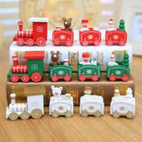 Tren de Navidad 4 nudos pintado decoración de Navidad para el hogar de madera con Santa niños juguetes de adorno Navidad 2019 regalo de Año Nuevo, Q