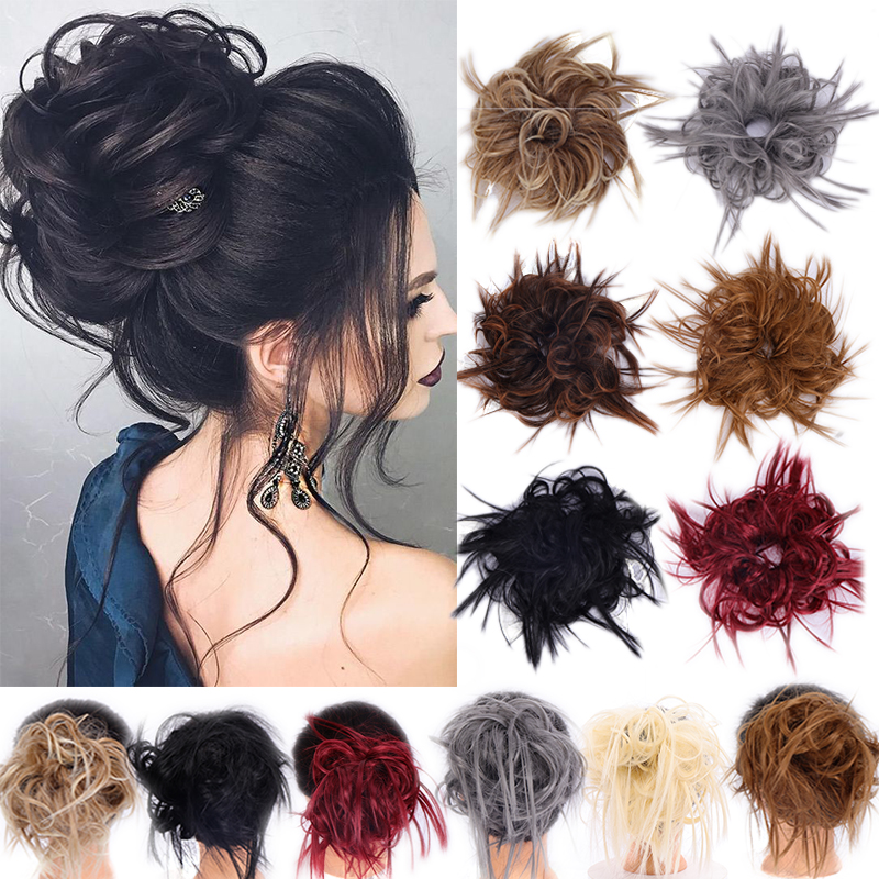 LUPU Messy Hair Bun Scrunchie Chignon For Women Synthetic Hair Extensions Hairpieces Heat Resistant Donut Wrap Ponytai