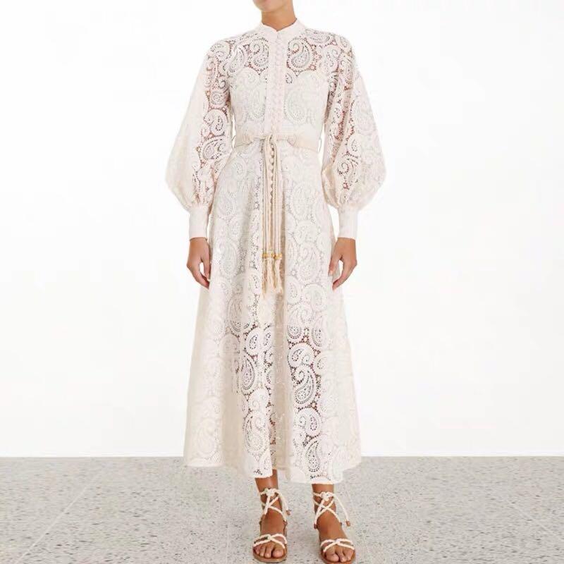 Mode broderie dentelle évider longue robe 2019 automne femmes simple-boutonnage lanterne manches taille haute glands ceintures robe