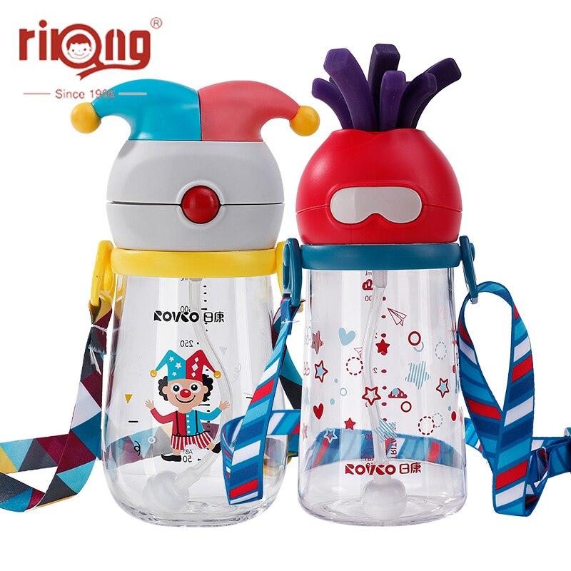 Rikang 350ml Kids Cartoon Cup Straw Bottle Children Learn Drinking Water Straw Handle Bottle Training Bottles Straw Cup