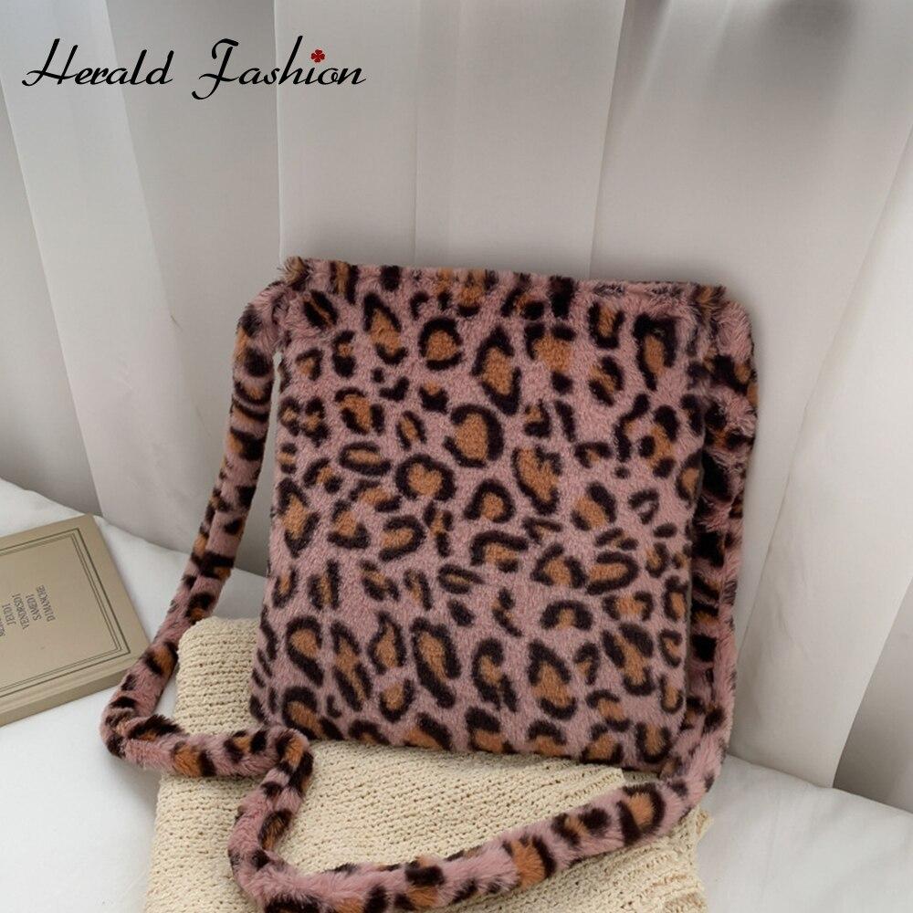 Mode solide couleur sac à bandoulière femmes en peluche doux automne hiver moelleux femme Totes sac à main dame fille voyage sac à main sac a main  