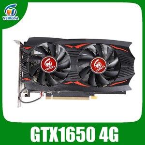 Tarjeta de vídeo VEINEDA GeForce GTX1650 4G GDDR5, tarjeta gráfica de 12 bits, juego de ordenador de escritorio de alto rendimiento para juego nVIDIA Geforce