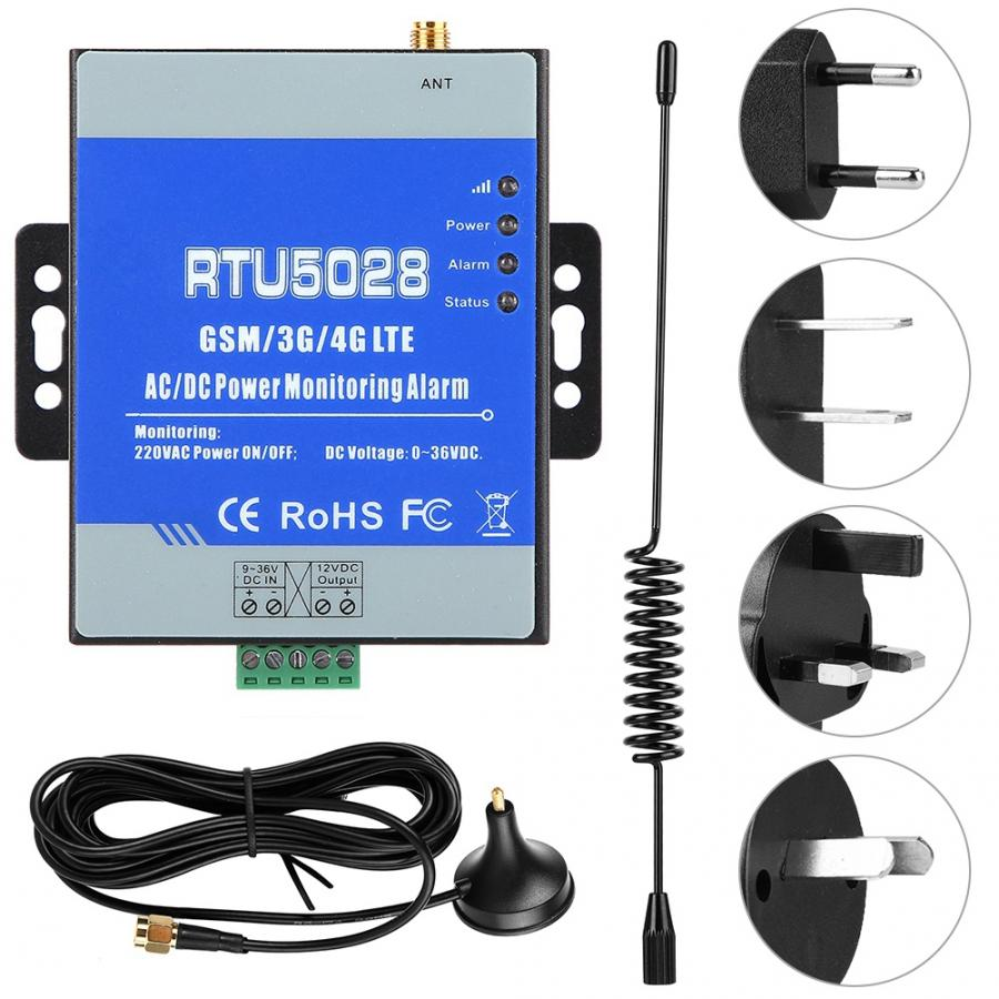 RTU5028 GSM Мощность Напряжение мониторинг состояния Мощность сбой/восстановить сигнал тревоги 100-240V аналоговый преобразователь сигнала тревог...