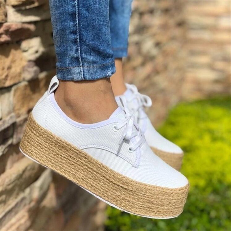 Canvas Flats 2019 Fashion Women Ladies Espadrille Shoes Thick bottom Flats Shoes Girls Lace up Round Toe Casual Flats