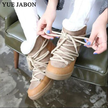 Snow Boots Platform-Shoes Brown Hidden Wedge Height Black Winter Fur Lace-Up Ankle Increasing