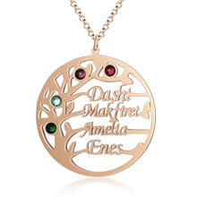 Personalized Name Necklaces Delicate Tree Pendant Engrave 4 Names Birthstones Family  Jewelry Promise Anniversary Gift for Women