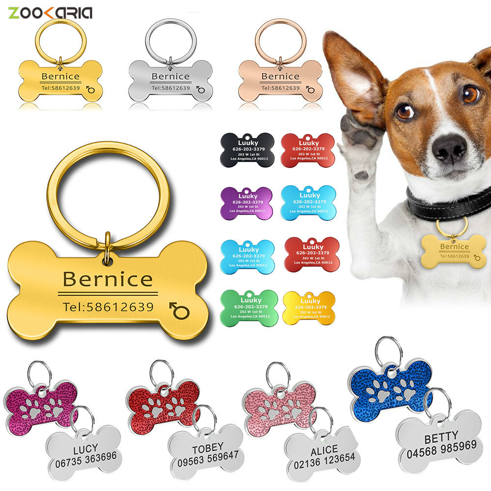 Personalized Pet Cat Dog ID Tag Engraved Pet ID Name Number for Cat Puppy Dog Customized Tag Collar Pendant Bone Pet Accessories