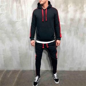 Image 4 - Hot Fashion Men Running Set 2Pcs Breathable Sport Suits Tracksuit Male Gym Sportswear Hip Hop Hoodies Sweatshirts 3XL