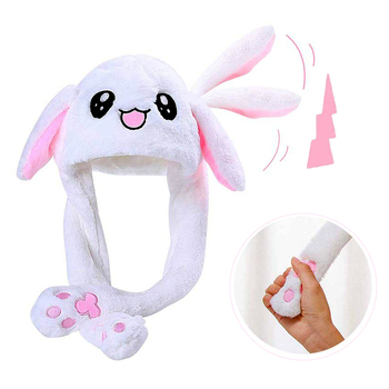 2021 New Rabbit Women's Hat Beanie Plush Can Moving Bunny Ears Hat with Shine Earflaps Movable Ears Hat for Women/Child/Girls image