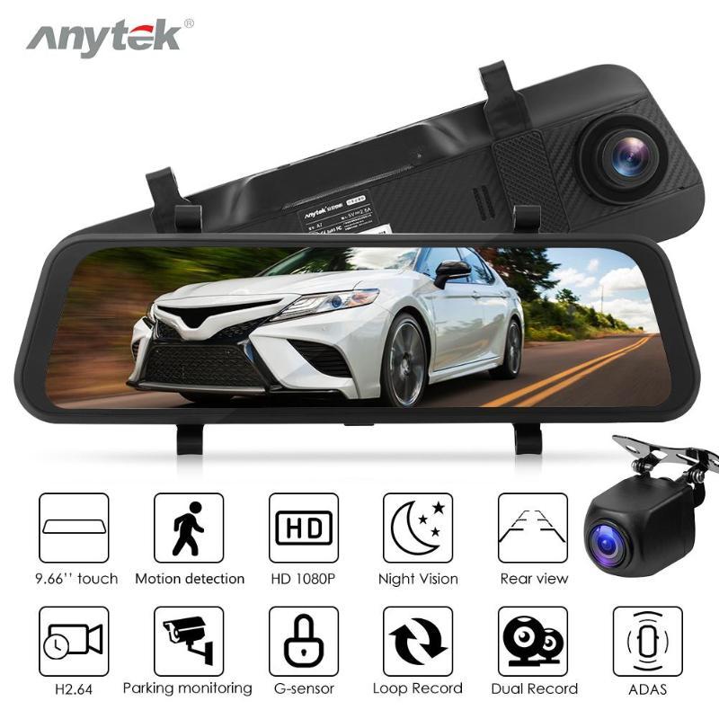 Anytek-A7 caméra DVR voiture   9.66 pouces 1080P HD, rétroviseur Dashcam, double lentille, Vision nocturne média, ADAS Dash Cam, enregistreur vidéo