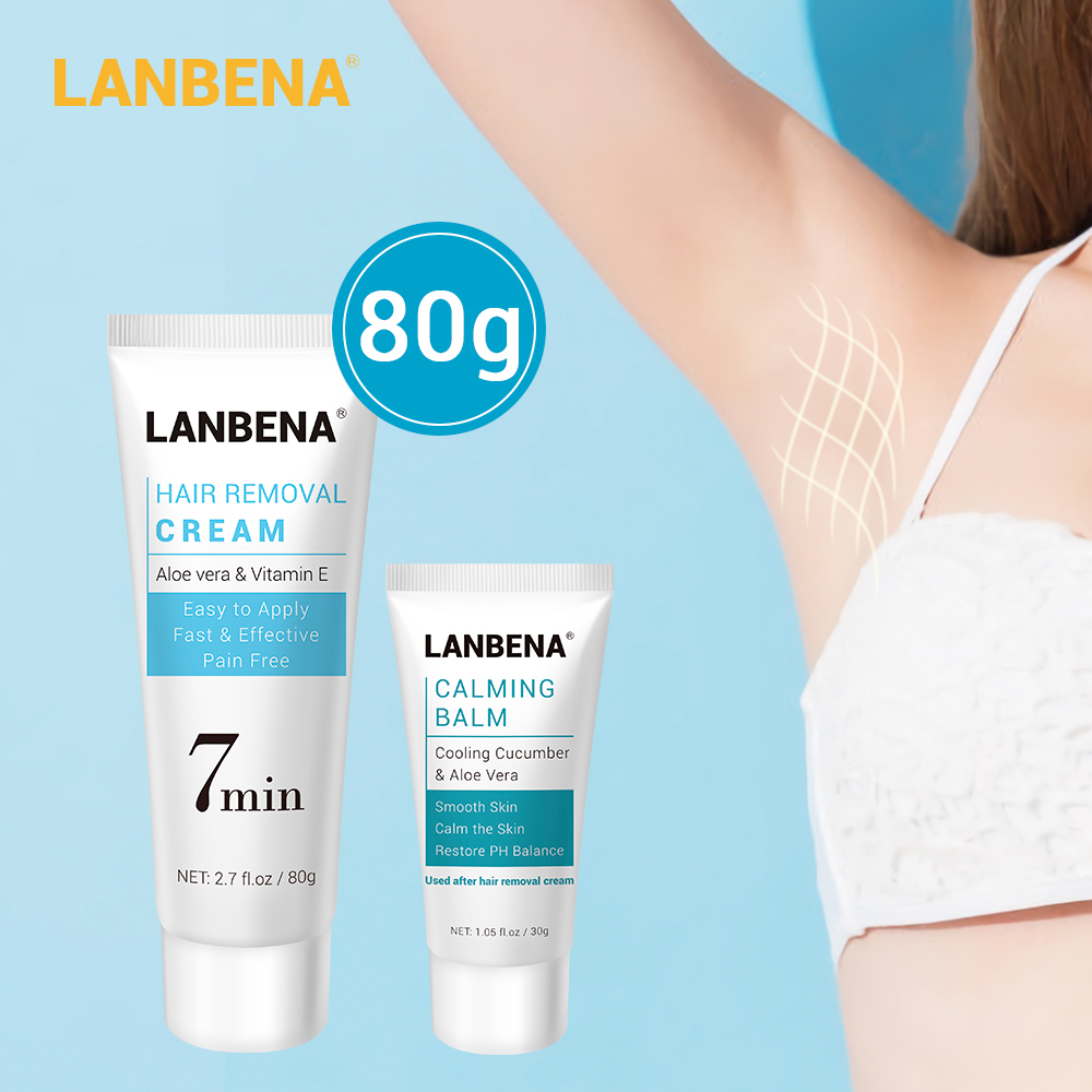 LANBENA Hair Removal Cream Painless Removal Depilation Calming Balm Gentle Effective Epilator Nourishing Repairing Body Cream