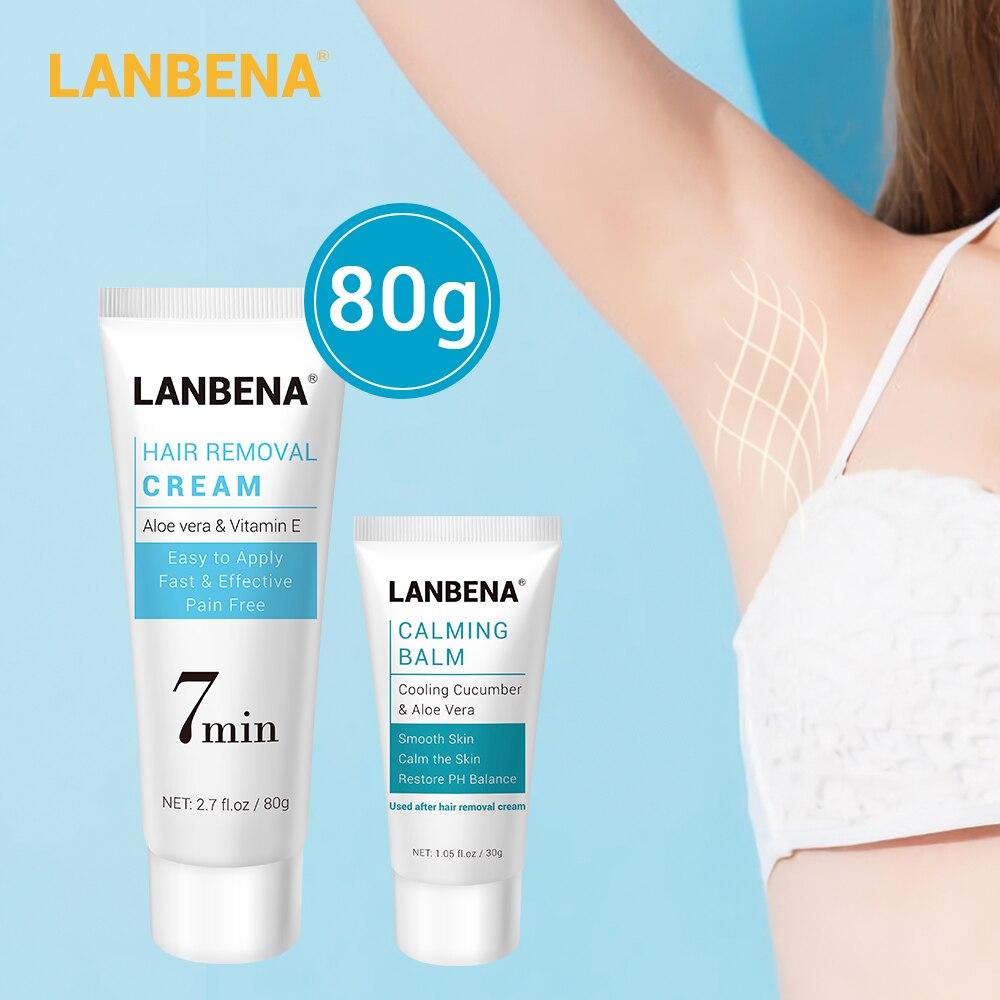 LANBENA Hair Removal Cream Painless Removal Depilation Calming Balm Gentle Effective Epilator Nourishing Repairing Body Cream