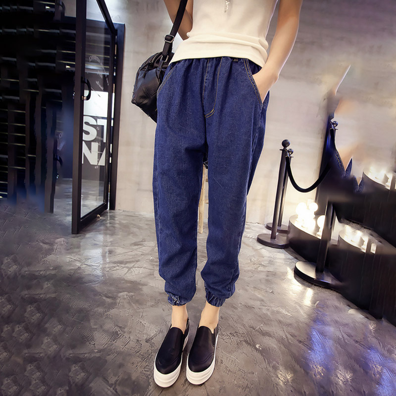 Jeans Woman Blue Autumn High Elastic Waist Jeans Boyfriend Trousers Vintage Jeans Denim Korean Pencil Pants Plus Size Hot V608