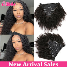 Alibele-extensiones de cabello rizado Afro, 120g/juego, brasileño, Remy, 10-24 pulgadas