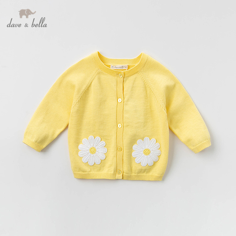 DB13365 dave bella spring infant baby girls fashion floral cardigan kids toddler coat children cute knitted sweater
