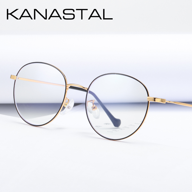 KANASTAL Prescription Glasses Women Oval-Frame Myopia-Alloy Anti-Blue Brand Ultralight