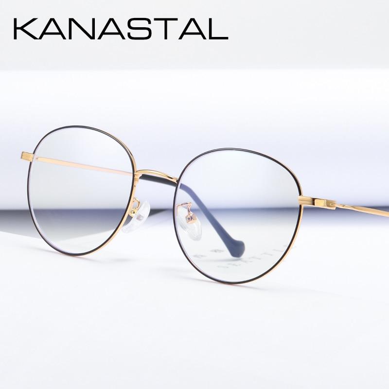 KANASTAL Brand Prescription Glasses Women Ultralight Myopia Alloy Oval Frame Eyeglasses Female Reading Glasses Anti Blue Rays