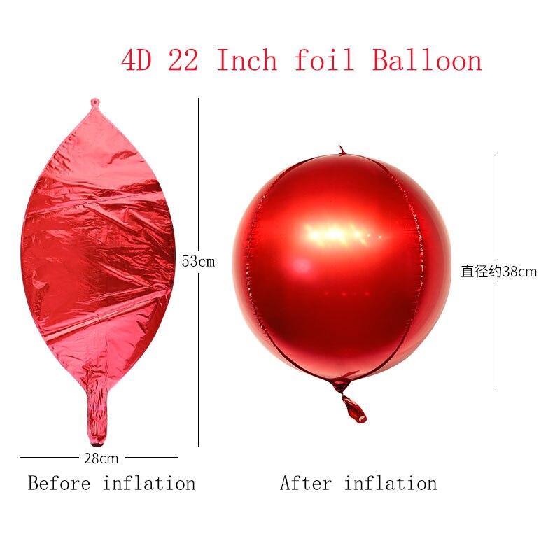 5 шт./лот 10 18 22 дюйма 4D круглые шарики из алюминиевой фольги металлические воздушные шары Свадебные украшения для дня рождения гелиевые шары-1