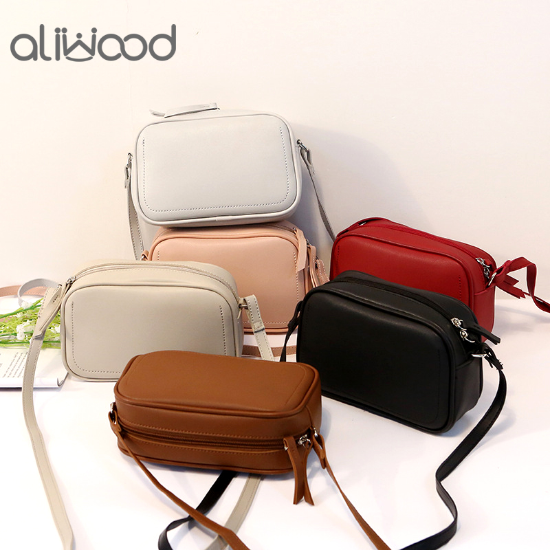 aliwood 2019 Women Shoulder Bags Flap Simple Elegant Solid Small Messenger Bags Leather Handbags Brands Females Crossbody Bags