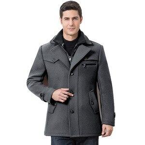 Image 5 - Winter Männer Beiläufige Wolle Graben Mantel Mode Business Medium Solide Verdicken Schlank Windjacke Mantel Jacke Männlichen Plus Größe 5XL
