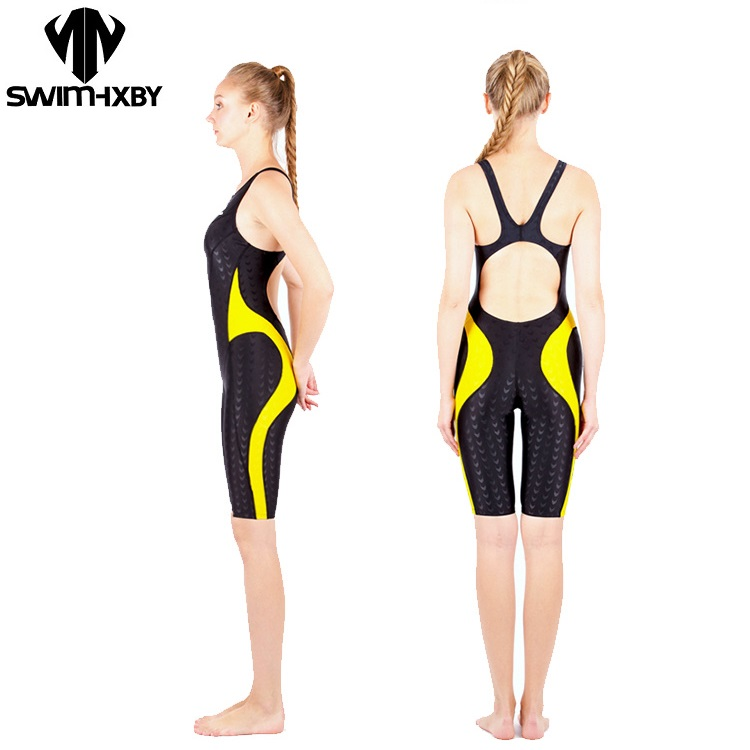HXBY Knee One Piece Swimsuit Professional Sports Women Swimwear Sharkskin Competition Backless Full Brief Bodysuit Size XXS-5XL