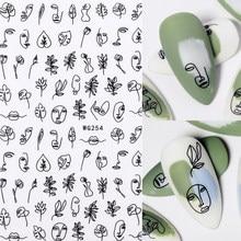 Pegatina 3D para uñas de mujer, patrón de cara, imagen de transferencia especial, deslizadores de flores, decoración de uñas DIY, 1 ud.