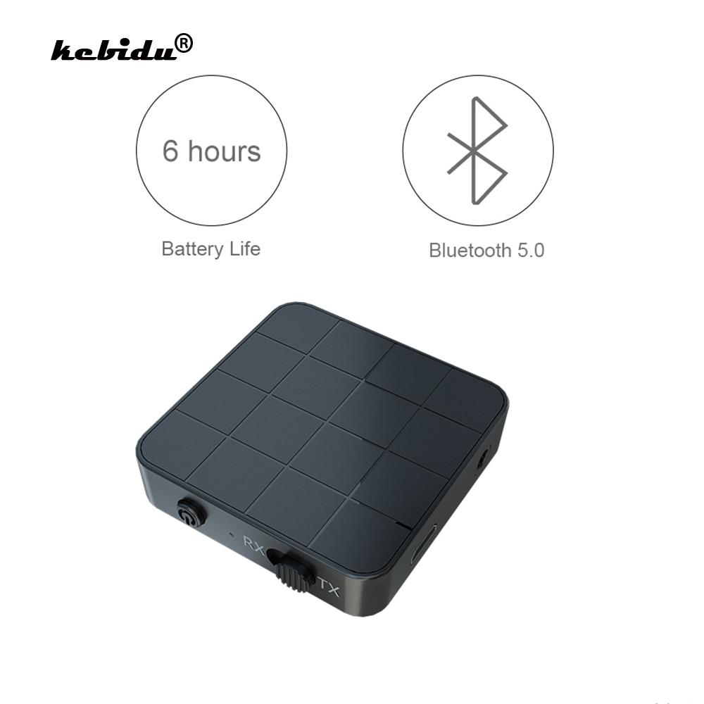 KN321 2 en 1 Bluetooth 5.0 Audio émetteur récepteur 3.5mm adaptateur sans fil stéréo Audio Dongle pour TV voiture/haut-parleurs à la maison