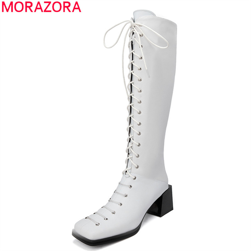 MORAZORA 2020 New brand genuine leather knee high boots fashion thick heels square toe winter shoes top quality women boots