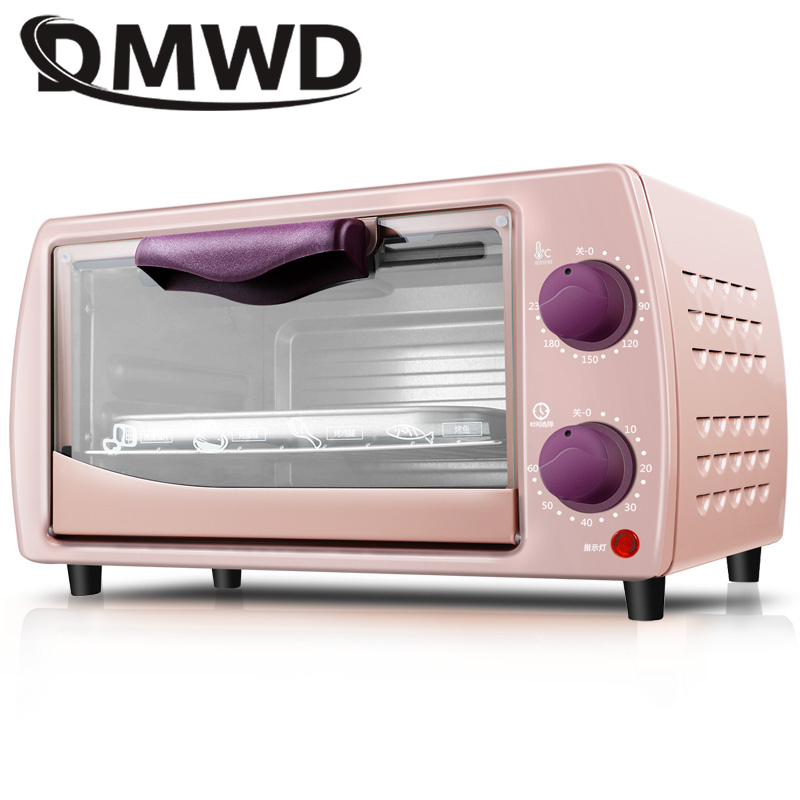 DMWD Mini four électrique domestique multifonction pain grille-pain Pizza gâteau cuisson gril automatique rôti poulet Machine minuterie 9L