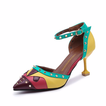 Summer 2020 New Women Sandals Hhigh-Heel Shoes Rivet Shallow Mixed Colors Pointed Toe Fashion Fine with Wild