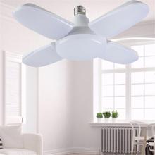 Светодиодный светильник для гаража, складная лампа E27, 4 регулируемые лопасти вентилятора, деформируемый потолочный светильник, AC85-260V для мастерской, склада