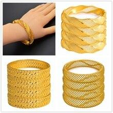 Anniyo 4Pieces Ethiopian Gold Bangle Women Dubai Bride Bracelets African Gold Color Jewelry Middle East Wedding Gift #225106