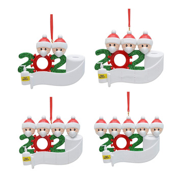 2020 Quarantine Christmas Birthdays Party Decoration Gifts Xmas Tree Hanging Ornament Personalized Survived Family Pandemic image