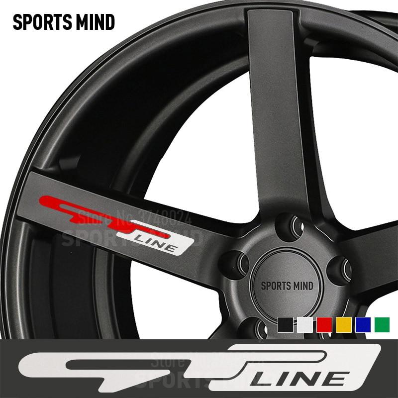 5 PCS GT LINE Wheels Rims Car Sticker Decal Emblem For Kia Sportage Rio Sorento Ceed Cerato K3 K5 Picanto Renault Accessories