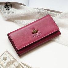 LAORENTOU billetera plegable de cuero de vaca para mujer, billetera de mujeres a la moda, bolso de mano largo elegante, tarjetero, monedero