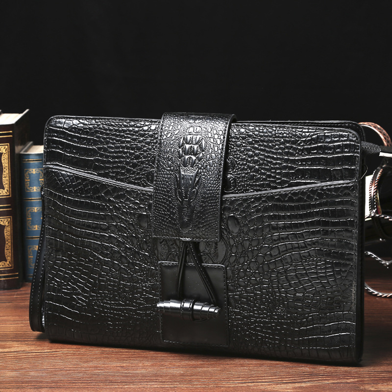 Men Handbag Casual Men Big Clutch Bag Crocodile Pattern Leather Business File Document Bags Handbag Black With Shoulder Belt
