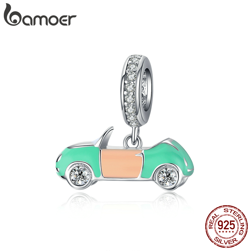 Bamoer Authentic 925 Sterling Silver Enamel Car Pendant Charm For Original Silver Snake Bracelet & Necklace Accessories BSC155